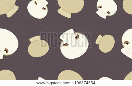 Seamless Pattern With Button Mushrooms.