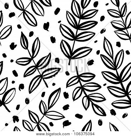 Seamless Pattern With A Plant. Natural Ornament.