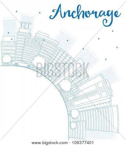 Outline Anchorage (Alaska) Skyline with Blue Buildings and copy space. Business and tourism concept with place for text. Image for presentation, banner, placard and web site