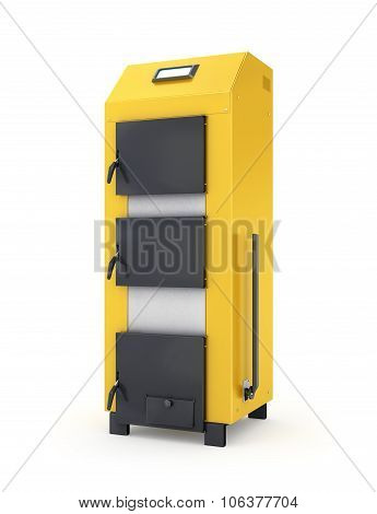 Yellow Solid Fuel Boiler. Isolated On White Background