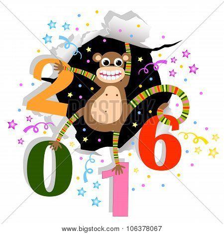 Happy New Year with monkey
