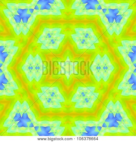 Seamless hexagon pattern yellow green blue