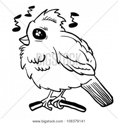 simple black and white funny looking bird cartoon