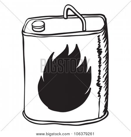 simple black and white gasoline can cartoon