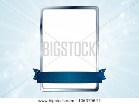 Blank white rectangle with silver frame and blue tape. Vector background design