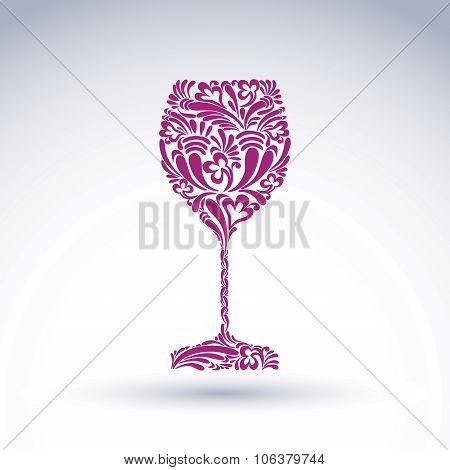 Creative Goblet With Floral Ethnic Tracery, Relaxation And Alcohol Theme Object. Sophisticated Wineg