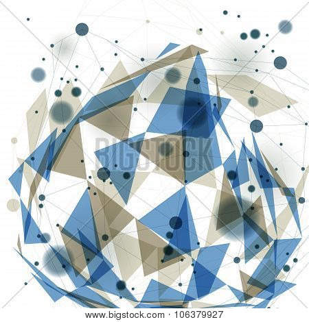 Vector digital 3d abstraction geometric polygonal perspective mesh illustration