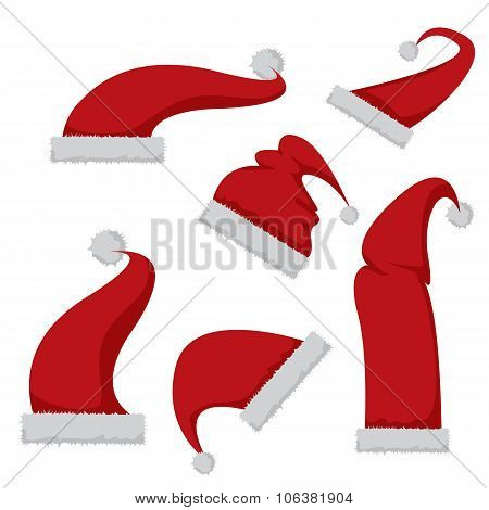 red Santa hat icon isolated on white