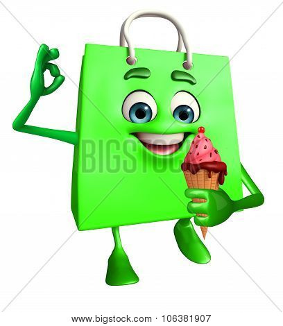 Shopping Bag Character With Icecream