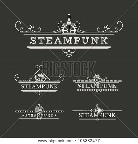 Vector Steampunk Labels Set