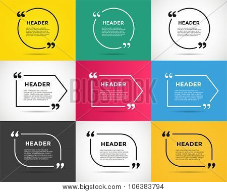 Website review quote citate blank template. Website review vector icon. Quote comment template. Quote bubble. Shop customer review template. Circle review template, paper sheet, information, text
