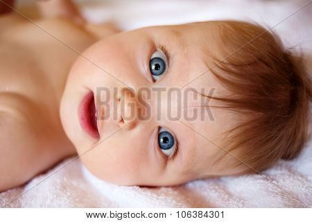 Portrait Of A Baby Face Close-up.