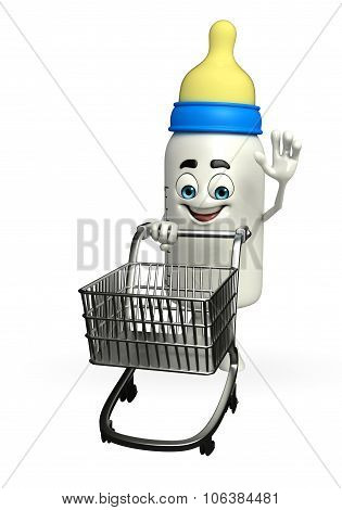 Baby Bottle Character With Trolley