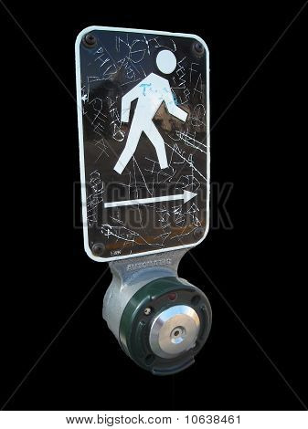walk button with graffiti