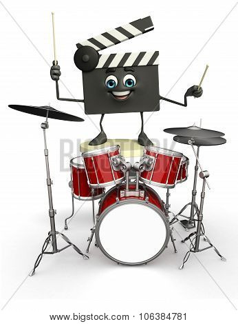 Clapper Board Character With Drum Set