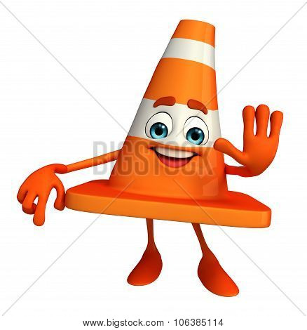 Construction Cone Character With Stop Pose