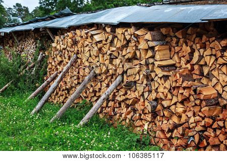 Country yard with store of wood