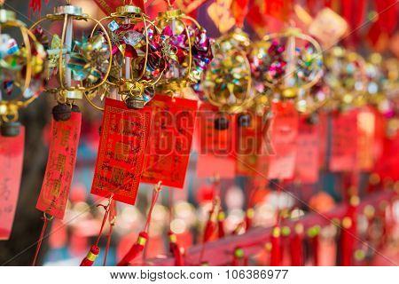 Hanging Red And Write Chinese Lucky Charm