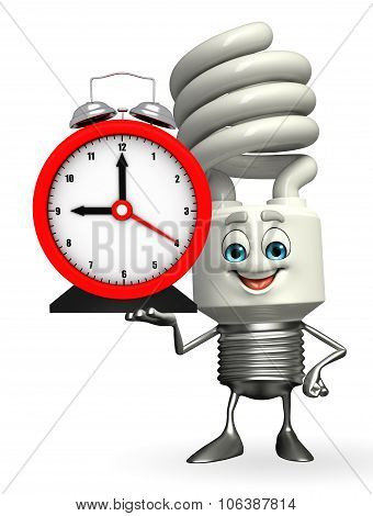 Cfl Character With Table Clock