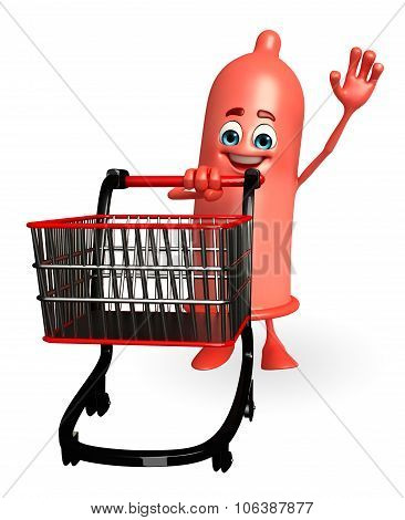 Condom Character With Trolley