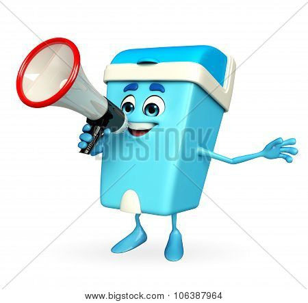 Dustbin Character With Loudspeaker