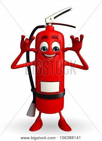 Fire Extinguisher Character With Teasing Pose