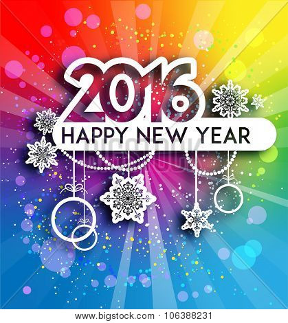 Bright holiday background. Happy new year design for card, banner, invitation, leaflet and so on.