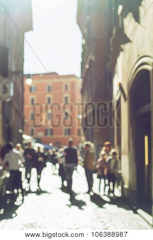 Blurred Crowd Of Walking People In Rome