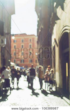 Blurred Crowd Of Walking People In Rome