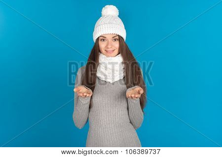 Beautiful Young Woman With Hat And Scarf