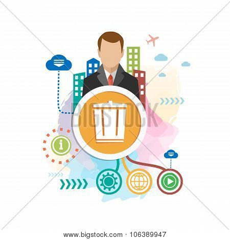 Recycle Garbage Can And Man On Abstract Colorful Background With Different Elements.