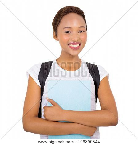 smiling young black college student on white background