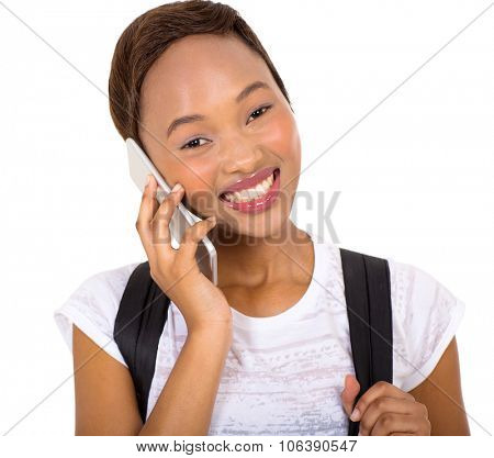pretty female african college student talking on mobile phone