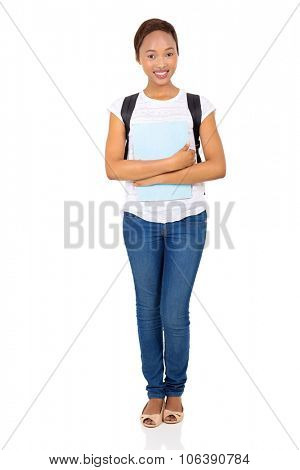 portrait of beautiful african college student standing on white background