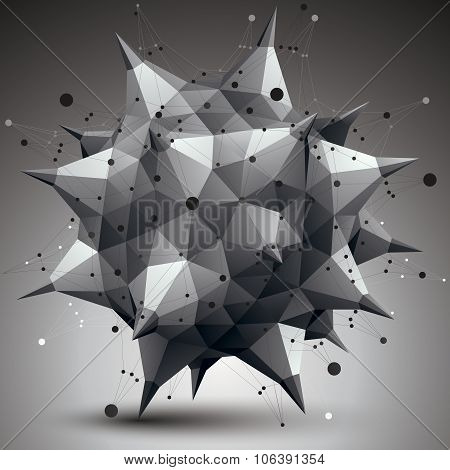 3D Mesh Contemporary Style Abstract Object, Origami Futuristic Form With Lines Mesh.