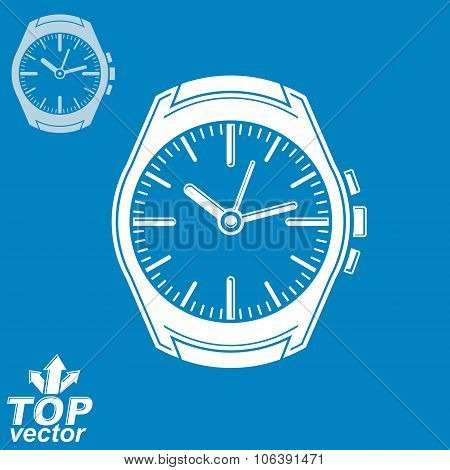 Vector Graphic Pocket Watch Illustration, Invert Version Included. Simple Eps8 Detailed Watch With D