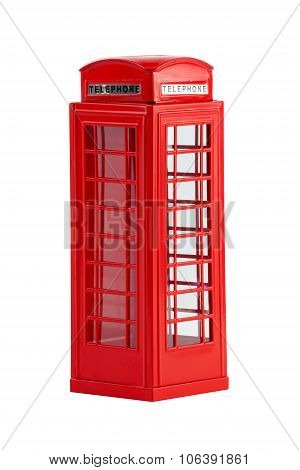 British telephone box, isolated on a white background
