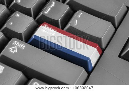 Enter Button With Netherlands Flag