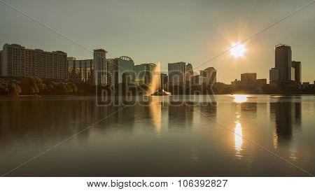 Orlando Lake Eola In The Night And Mirroring Skyscrapoers