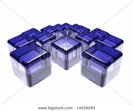 Abstract Composition Of Blue Glass Cubes Over White Background