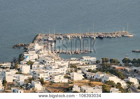Port in island Paros in Greece. View from the top of a high mountain.