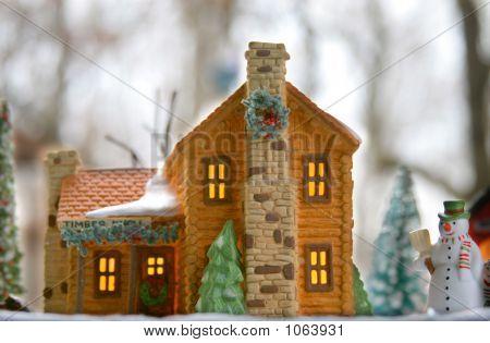 Log Cabin Model Christmas Scene