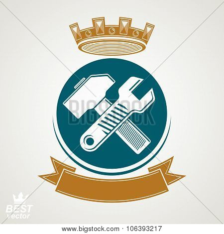 Simple Vector Wrench And Hammer Crossed. Graphic Reparation Utensil With Imperial Crown And Decorati