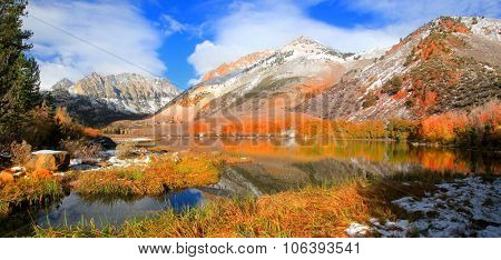 Panoramic view of scenic North lake near Bishop in California