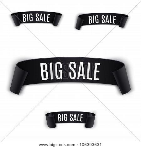 Set Black realistic curved Ribbon