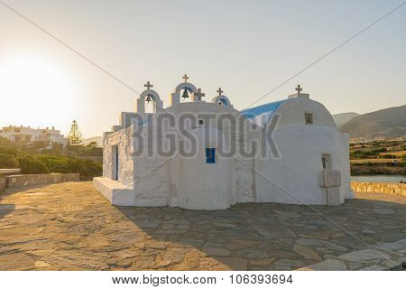 Beautiful  traditional orthodox church in Paros island in Greece