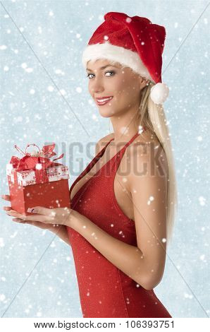 Lovely Woman With Xmas Gift
