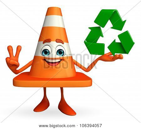 Construction Cone Character With Recycle Icon