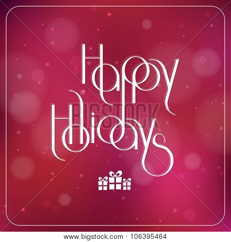 Merry Christmas interlaced lettering with bokeh effect on red background vector card