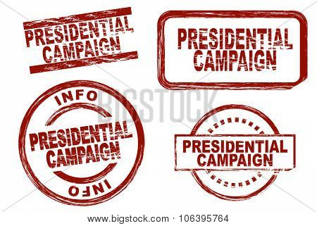 Set of stylized stamps showing the term presidential campaign. All on white background.